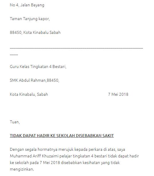 surat tidak hadir ke sekolah